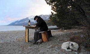 Sylvain Tesson by the lake