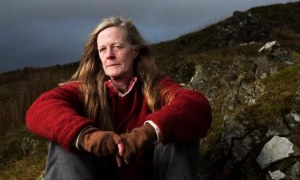Writer Sara Maitland near her home on the Galloway moors, Dirniemow, New Luce, Scotland