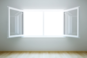 3d rendering the empty room with open window
