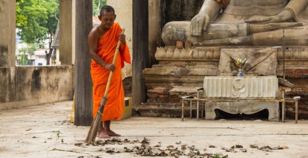 Monks cleaning 2